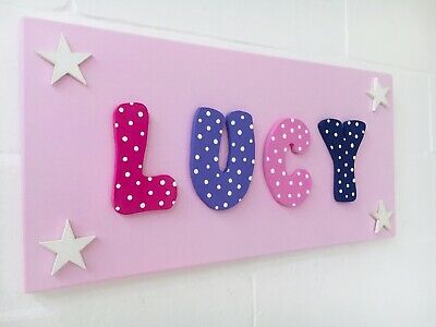 Personalised Childrens Wooden Name Wall/Door Plaque/Sign Pink/Purple