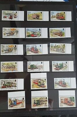 ISLE OF MAN - 1988 MANX Tramcars & Trains MNH 18 STAMPS - 1p to £1