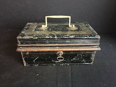 Antique Metal Cash or Document Lock Box with Key