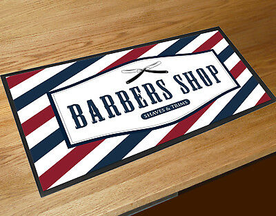 Red & Blue striped Barber shop cuts & shaves Barbers shop Counter mats