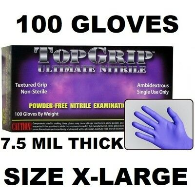 Topgrip Heavy Duty Nitrile Gloves, Powder Free, 7.5 Mil, 100 Gloves, Xl X-Large