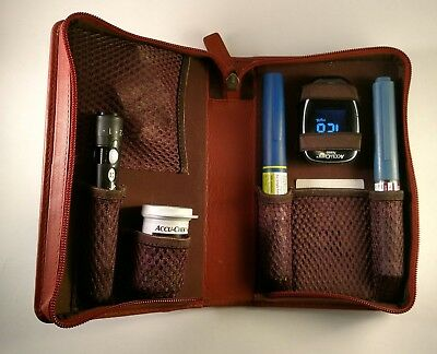 Large Diabetic Insulin Pen & Glucometer / Glucose meter DARK TAN leather case