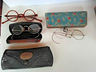 Lot Of 3 Antique Vintage Spectacles Eye Glasses and 3 cases
