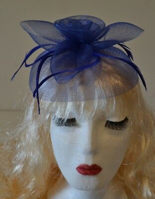 Navy Blue Fascinator Large 20cm Feathers Flower Wedding Hats Ladies Day Races