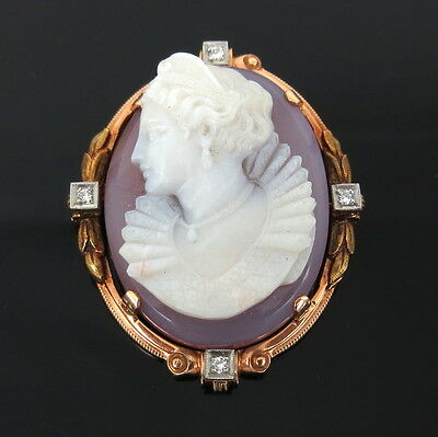 Antique 0.08ct Diamond & Carved Stone Cameo 14K Yellow Gold Pendant Brooch