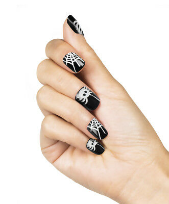 Halloween Black With Silver Spiders & Cobweb Short Square False Nails 24pcs