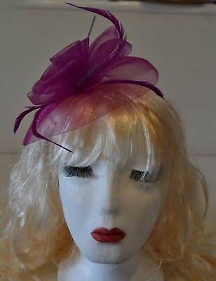 Pink Cerise Fascinator Large 20cm Feathers Flower Wedding Hats Las Day Races