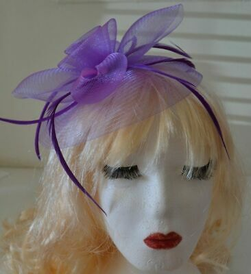 Lilac Fascinator Hat Large 20cm Feathers Flower Wedding Hats Ladies Day Races