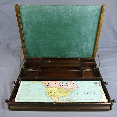 1929 Child's Wooden Fold out Desk  by Lewis E Myers Co Chalk Board Made USA Vtg