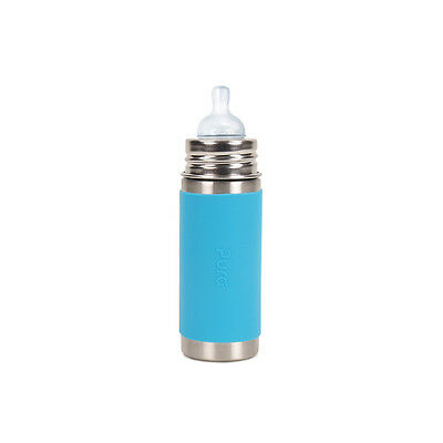 Pura Kiki Stainless Steel Baby Infant Insulated Bottle 9oz Aqua Sleeve Brand New