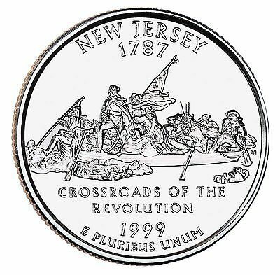 """State Quarter 25c Uncirculated Roll of 40 """" P """" Mint # 3 1999 New Jersey NJ"""