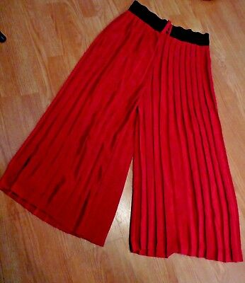 VTG Red Tailored Pleated Wide Leg Cropped Palazzo Gaucho Culottes Hippie Rayon ?