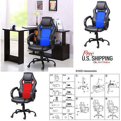 New Blue High Back Racing Car Style Bucket Seat Office Desk Chair Gaming Chair