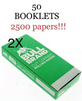 Bull Brand 2 Full Boxes Of Papers Special Offer 50 Booklets 2500 Papers