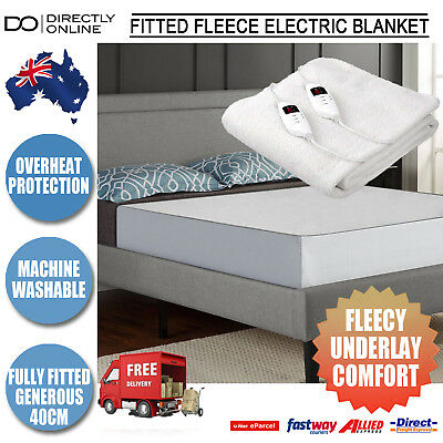 Electric Heated Blanket Fully Fitted Fleece Underlay Machine Washable All Sizes