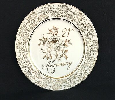 "Norcrest 21st Anniversary 10¼"" Porcelaine Dinner Plate Japan Chatillon AB-171"