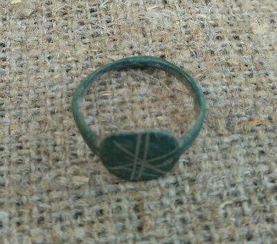 Medieval  Finger Ring Ancient Bronze With Ornament