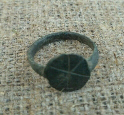 Medieval Ancient Bronze Finger Ring With Ornament
