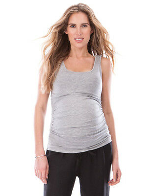 Seraphine Grey Micromodal Maternity and Nursing Vest Top (M)