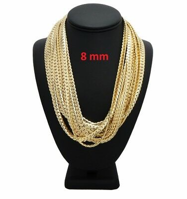 """12 Pcs 8mm Mens Miami Cuban link Chain 20"""" 22"""" 24"""" 26"""" 30"""" Gold Plated Wholesale"""