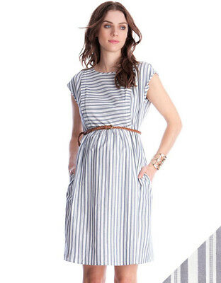 Seraphine Cotton Stripe Maternity and Nursing Dress (UK 10)