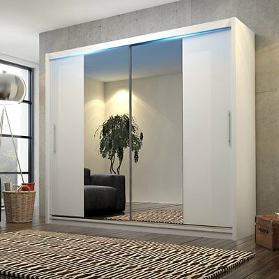 Brand New White Stylish Sliding Door Wardrobe, Mirror, Leds, Choice Of Sizes
