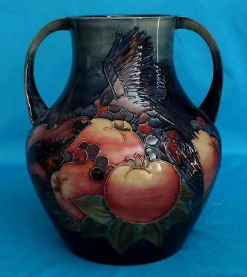 Large Moorcroft Art Pottery Finches Two Handled Vase By Sally Tuffin