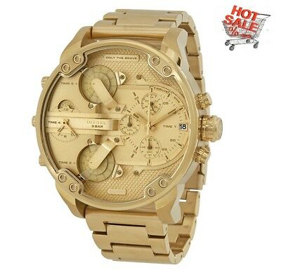 New Diesel Dz7399 Mr. Daddy 2.0 All Gold Stainless Steel Mens Watch Uk Seller
