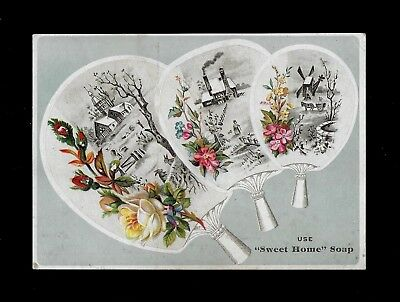 Three Decorative Fans-Pretty Victorian Embossed Trade Card-Sweet Home Soap