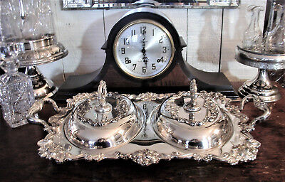 Rare Ornate Antique Sheffield Plate Double Server