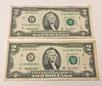 Pair of USA 2 Dollar Bill Series 2003 Consecutive Serial No. Founding Fathers