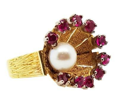 18K Vintage Shell Pearl & Ruby Dress Ring