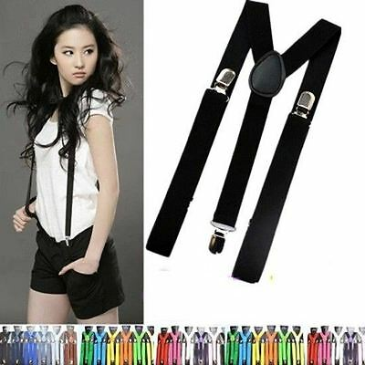 New Unisex Mens Womens Adjustable Clip-on Suspenders Elastic Y-Shape Braces JF