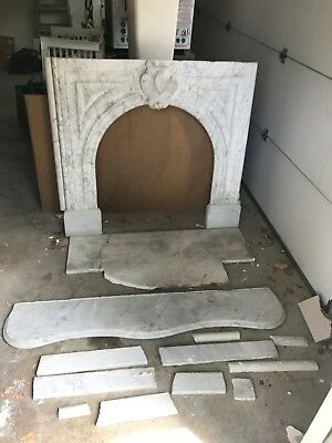 Antique White Marble Fireplace Mantle