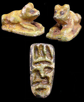Egyptian N/King glazed faience seal of Anubis inscribed with hieroglyphs. a5246