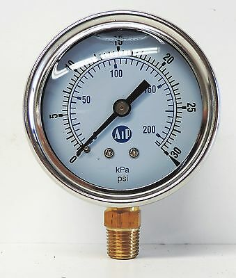 NEW Pressure Gauge Liquid Filled 0 - 30 psi 200 kpa Air Water Guage Gage AIP