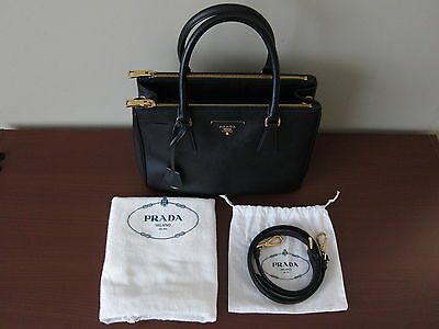 c27cb1c6dff PRADA SAFFIANO LUX Small Double Zip Black Leather Tote / Handbag ...