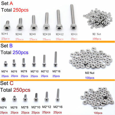 250pcs M2(2mm) A2 Stainless Steel Bolts With Hex Nuts Screws Assortment Kit New