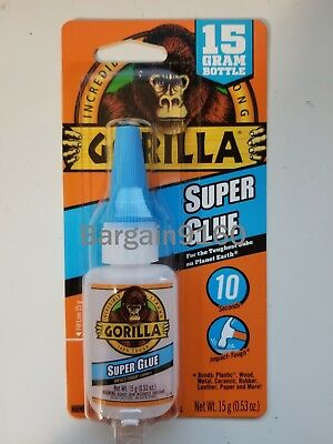 Gorilla Super Glue Gel 15g Clear NEW 10 Seconds Impact-Tough Strong&Fast formula
