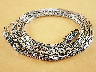 "Handmade 925 Sterling Silver Necklace Chain Byzantine Bali Borobudur 24"" 40g 3mm"