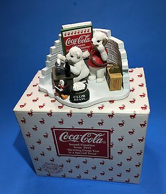 Coca Cola Polar Bear Cub Figurine Hearing From You Is A Special Treat Boxed 1999