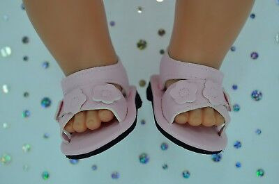 """Dolls Shoes For 17""""Baby Born~18""""American Girl  PINK FLOWER SANDALS"""