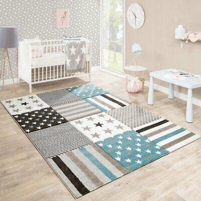 Quality Thick Kids Carpet Stars Stripes Soft Nursery Rug Beige Cream Play Mat