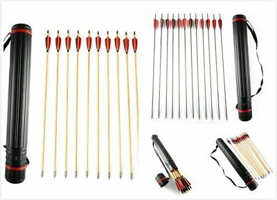 12 x 32'' Archery Arrows Recurve Compound Bow Target Practice With Quiver