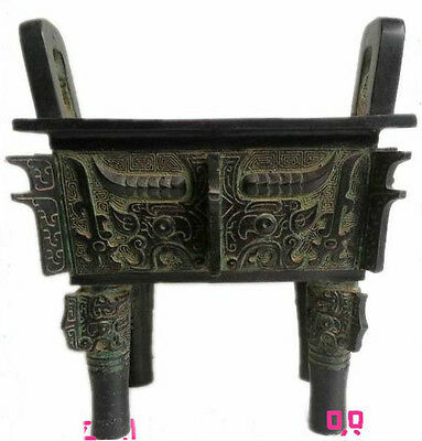 Excellent Chinese statue Bronze Tripod carved ancient Beast face Taotie picture