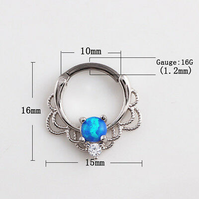 Tragus Opal Cartilage Septum Lip Nipple Hoop New Ring Jewelry Nose Piercing