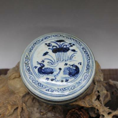Chinese Old Blue And White Lotus And Mandarin Ducks Pattern Porcelain Inkpad Box