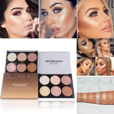 6 Colors Makeup Face Bronzer Highlighter Powder Palette High Shimmer Party Gift