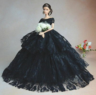 Black Fashion Royalty Princess Party Dress Clothes/Gown For 11.5in.Doll Yu134