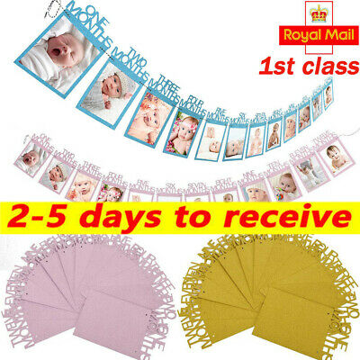 1st Birthday Bunting Garland Banners Baby Boys Girls Monthly Bunting Photo prop